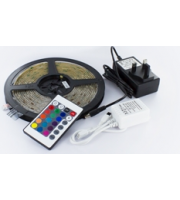 Integral 5M IP65 Rgb Plug And Play Colour Changing Strip 7.2W/M 30LEDs/M With Ir Controller And Eu Wall Mounted Power