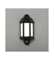 KSR Lighting Manta 10w 4000K LED PIR Polycarbonate Half Wall Lantern (Black)