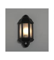 KSR Lighting Manta E27 PIR Half Lantern (Black)