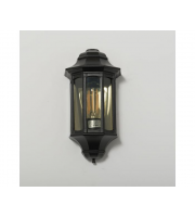 KSR Lighting Rio E27 Flush Wall Lantern with Clear Diffuser (Black)