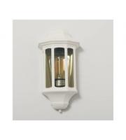 KSR Lighting Rio E27 Flush Wall Lantern with Clear Diffuser (White)