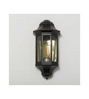KSR Lighting Majorca E27 Flush Wall Lantern with Clear Diffuser (Black)