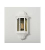 KSR Lighting Majorca E27 Flush Wall Lantern with Clear Diffuser (White)