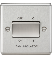 ML Accessories Rounded Edge 10A 3 Pole Fan Isolator Switch (Brushed Chrome)
