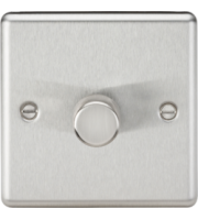 ML Accessories Rounded Edge 1G 2 Way 40-400W Dimmer (Brushed Chrome)