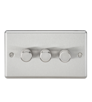 ML Accessories Rounded Edge 3G 2 Way 40-400W Dimmer (Brushed Chrome)