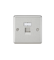 ML Accessories Rounded Edge RJ45 Network Outlet (Brushed Chrome)