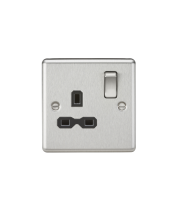 ML Accessories Rounded Edge 13A 1G DP Switched Socket (Brushed Chrome)