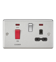 ML Accessories 45A DP Cooker Switch & 13A Switched Socket (Brushed Chrome)