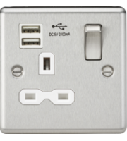 ML Accessories 13A 1G Switched Socket with Dual USB (Brushed Chrome)