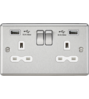 ML Accessories 13A 2G Switched Socket with Dual USB (Brushed Chrome)