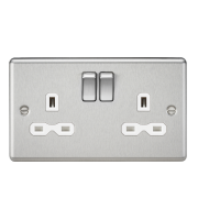 ML Accessories Rounded Edge 13A 2G DP Switched Socket (Brushed Chrome)