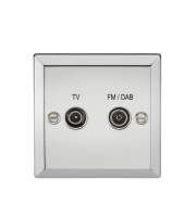 ML Accessories Diplex TV & FM DAB Outlet (Polished Chrome)