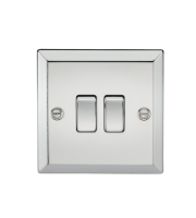 ML Accessories 10A 2G 2 Way Plate Switch (Polished Chrome)