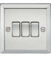 ML Accessories 10A 3G 2 Way Plate Switch (Polished Chrome)