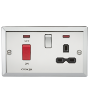 ML Accessories 45A DP Cooker Switch & 13A Switched Socket (Polished Chrome)