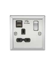 ML Accessories 13A 1G Switched Socket with Dual USB (Polished Chrome)