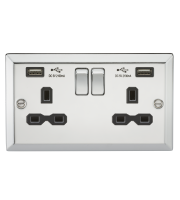 ML Accessories 13A 2G Switched Socket with Dual USB (Polished Chrome)