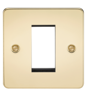ML Accessories Flat Plate 1G Modular Faceplate (Polished Brass)
