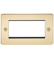 ML Accessories Flat Plate 4G Modular Faceplate (Polished Brass)