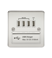 ML Accessories Flat Plate 1G Quad USB Charger Outlet (Polished Chrome/White)