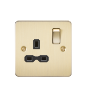 ML Accessories Flat Plate 13A 1G DP Switched Socket (Brushed Brass)