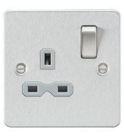 ML Accessories Flat Plate 13A 1G DP Switched Socket (Brushed Chrome)