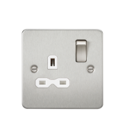 ML Accessories Flat Plate 13A 1G DP Switched Socket (Brushed Chrome/White)