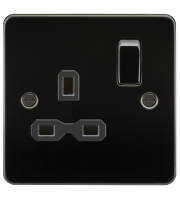 ML Accessories Flat Plate 13A 1G DP Switched Socket (Gunmetal)