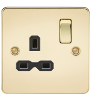 ML Accessories Flat Plate 13A 1G DP Switched Socket (Polished Brass)