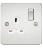 ML Accessories Flat Plate 13A 1G DP Switched Socket (Polished Chrome)