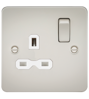 ML Accessories Flat Plate 13A 1G DP Switched Socket (Pearl)