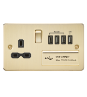 ML Accessories Flat Plate 13A Switched Socket with Quad USB (Brushed Brass)