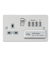 ML Accessories Flat Plate 13A Switched Socket with Quad USB (Brushed Chrome)