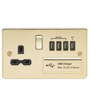 ML Accessories Flat Plate 13A Switched Socket with Quad USB (Polished Brass)