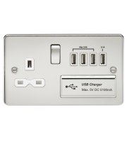 ML Accessories Flat Plate 13A Switched Socket with Quad USB (Polished Chrome)