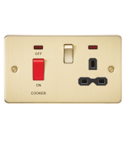 ML Accessories Flat Plate 45A DP Switch & 13A Switched Socket with Neon (Brushed Brass)