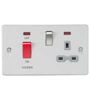 ML Accessories Flat Plate 45A DP Switch & 13A Switched Socket with Neon (Brushed Chrome)