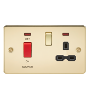 ML Accessories Flat Plate 45A DP Switch & 13A Switched Socket with Neon (Polished Brass)