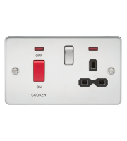 ML Accessories Flat Plate 45A DP Switch & 13A Switched Socket with Neon (Polished Chrome)