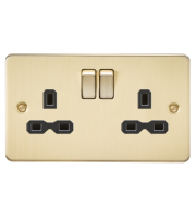ML Accessories Flat Plate 13A 2G DP Switched Socket (Brushed Brass)