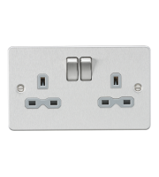 ML Accessories Flat Plate 13A 2G DP Switched Socket (Brushed Chrome)