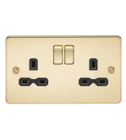 ML Accessories Flat Plate 13A 2G DP Switched Socket (Polished Brass)