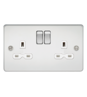 ML Accessories Flat Plate 13A 2G DP Switched Socket (Polished Chrome)