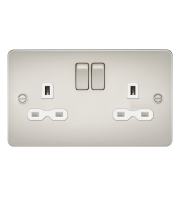 ML Accessories Flat Plate 13A 2G DP Switched Socket (Pearl)