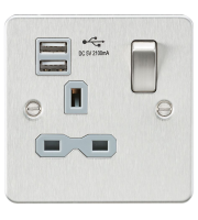 ML Accessories Flat Plate 13A 1G Switched Socket with Dual USB (Brushed Chrome)