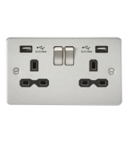 ML Accessories Flat Plate 13A 2G Switched Socket with Dual USB (Brushed Chrome/Black)
