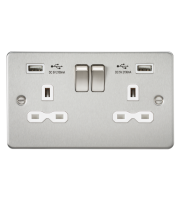 ML Accessories Flat Plate 13A 2G Switched Socket with Dual USB Charger (Brushed Chrome/White)