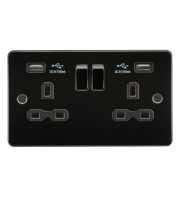 ML Accessories Flat Plate 13A 2G Switched Socket with Dual USB (Gunmetal/Black)