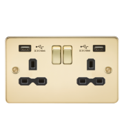 ML Accessories Flat Plate 13A 2G Switched Socket with Dual USB (Polished Brass/Black)